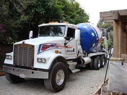 Truck delivering pervious concrete